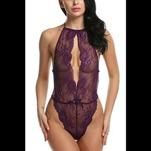 NWT Sexy Purple Lace Teddy Bodysuit M